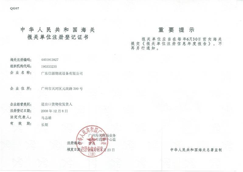 企业出口资质证书